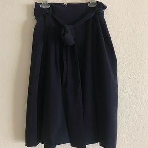 Loft navy blue midi skirt